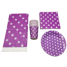 Wedding Party Table Cover Purple Polka Dots Design Tablecloth Baby Shower Napkins Birthday Tableware Set Decorate Cups 61pcs/lot