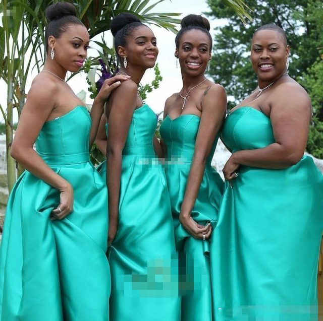 Arabic Style High Low Bridesmaid Dresses With Pockets Turquoise