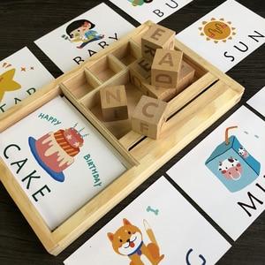 Image 4 - Montessori Learning English Cards alfabet pisownia słowa gry dla dzieci pisownia słowo klocki do budowy wczesne zabawki edukacyjne