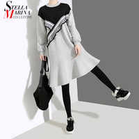 New 2018 Korean Style Gray Black Patchwork Dress Long Sleeve Knee Length Girls Stylish Female Cute Wear Dresses Robe Femme 4547