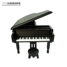 Gohide Creative Gifts For Valentines Day Classical Nice Music Box Solid Wooden Grand Piano Style Music Box Black Color
