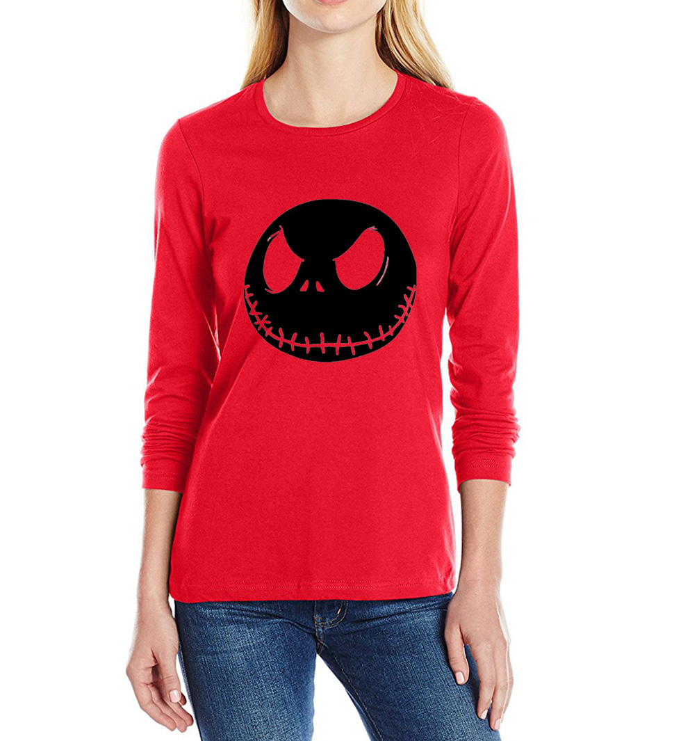 Boutique Tops Store 100% cotton T-Shirt harajuku streetwear New Women T Shirt Nightmare Before Christmas Jack Skellington pring long sleeve tops tee