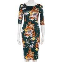 Womens Sexy Dresses Ladies Elegant Summer Black Sleeveless Knee Length Floral Print Sheath Dress KJ2