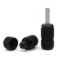5pcs/lot Carved Aluminum Grip 25mm Black Tattoo Grip Tubes With Back Stem For Tattoo Machine Gun Supply High Quality