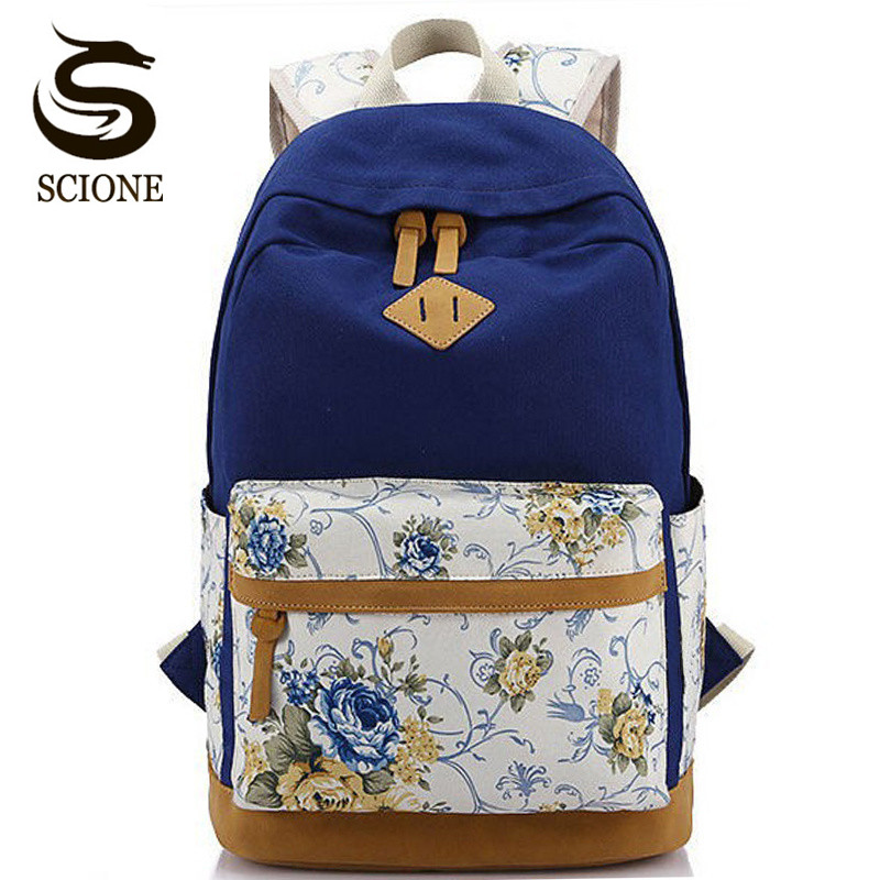 Scione Canvas Women School Bag Backpacks For Girls Mochila Escolar Flower Printing Computer Laptop Backpack School Rucksack P112
