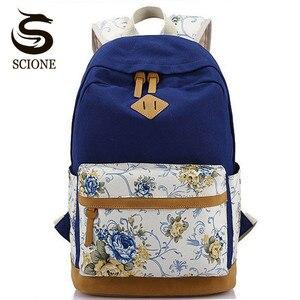 Scione lona mochilas para meninas mochila escolar impressão flor computador portátil mochila escolar p112