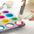 Silicone Cupcake Liners 12 Pieces (1 dozen) Round Shaped Muffin Molds in Storage Jar Baking Cups Silicon Cake Molds Cake Pans