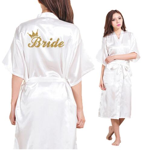 Bride Crown Team Bride Golden Glitter Print Long Section Kimono Robe Women Bachelorette Wedding Faux Silk Robe Free Shipping