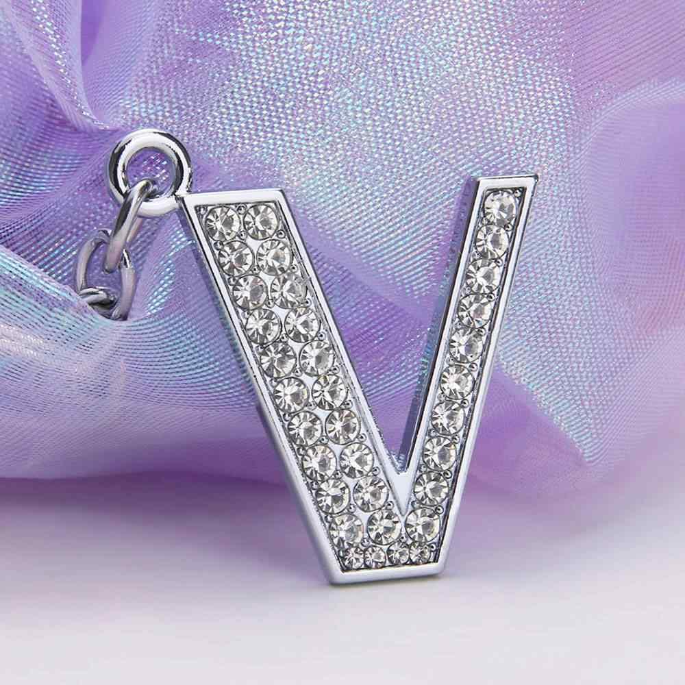 Горячая мода 26 букв брелок женский кристалл горный хрусталь брелок с алфавитом начальный унисекс сумка для ключей кулон ювелирные изделия
