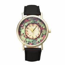 Fashion  2016Gofuly Fashion Wholsale Design Women Dress watches Quartz Watch Pastorale Floral Ladies Watch Free Shipping