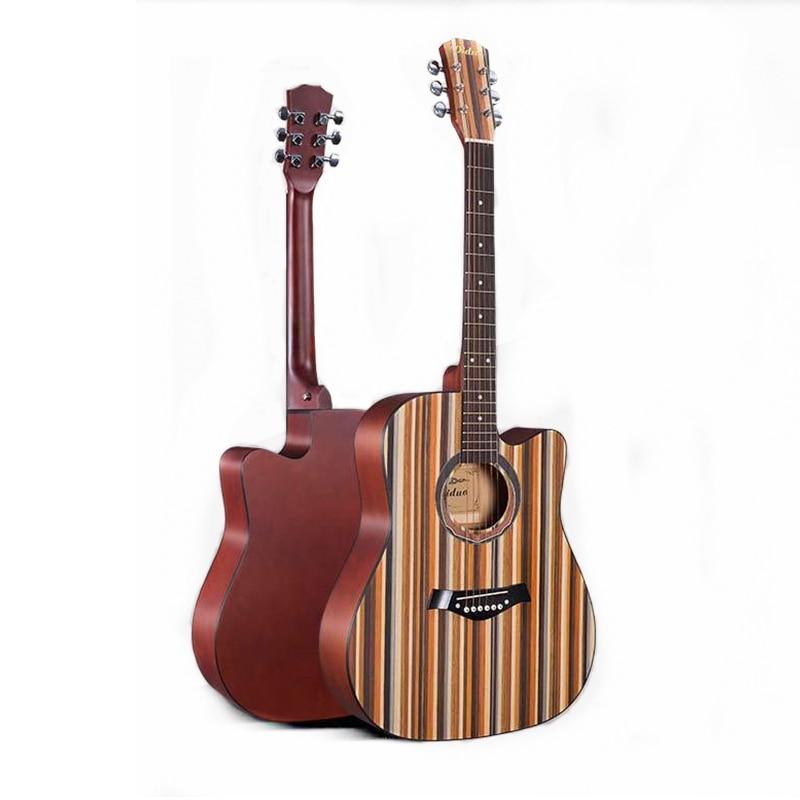 Chaud 41 pouces guitare Folk acoustique pour débutants étudiants cadeau tilleul palissandre bouton fermé pratique guitare couleur motif