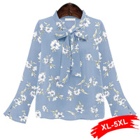 Plus Size Office Women Blouse 4Xl 5Xl Tie Neck Semi Sheer Top Summer Floral Print Elegant