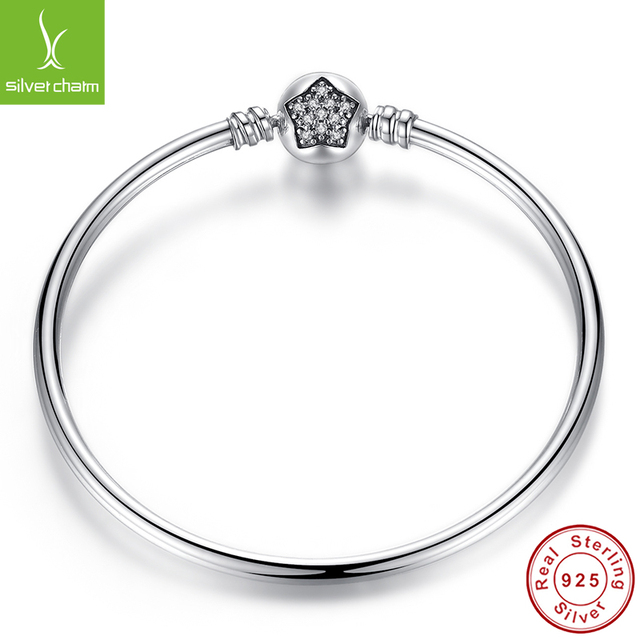 100% 925 Sterling Silver Bangle With Clear CZ  for Women Fashion DIY Jewelry Fit Original  Bracelets Charm Gift