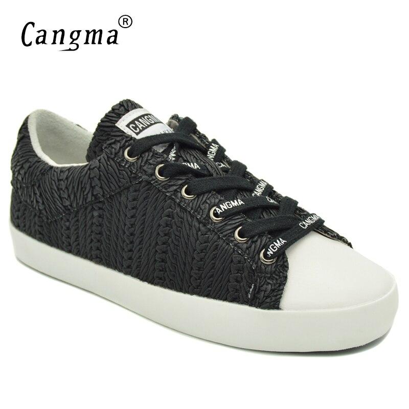 CANGMA Original confort dames chaussures automne noir rayure à la main en cuir véritable baskets femmes Calzado Mujer Famale chaussures plates