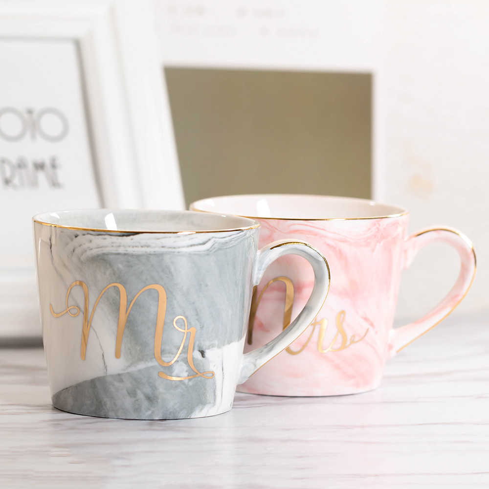 Lekoch 380 мл мраморная Керамика Кружка дорожная кофейная кружка чашки для молока и чая креативные Mr and Mrs кружки розовая Золотая инкрустация для завтрака домашний декор