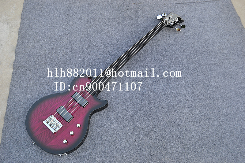 free shipping new Big John 4 strings fretless electric bass guitar with elm body in purple made in China  F-1862 free shipping new big john lp electric guitar in blue with mahogany body 1049