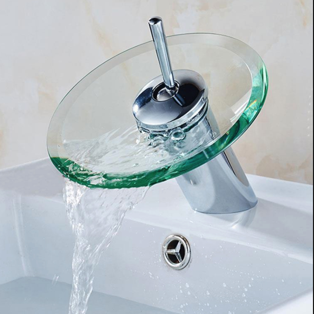 Tap-Faucet Basin Toque-Sink-Mixer Bathroom Waterfall Water-Inlet Chrome Glass-Edge New