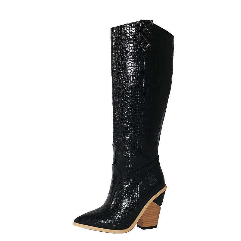 Sarı beyaz siyah kovboy çizmeleri kadın sivri burun kama yüksek topuk diz çizmeler bayanlar kış bandı batı Cowgirl uzun çizmeler 2020