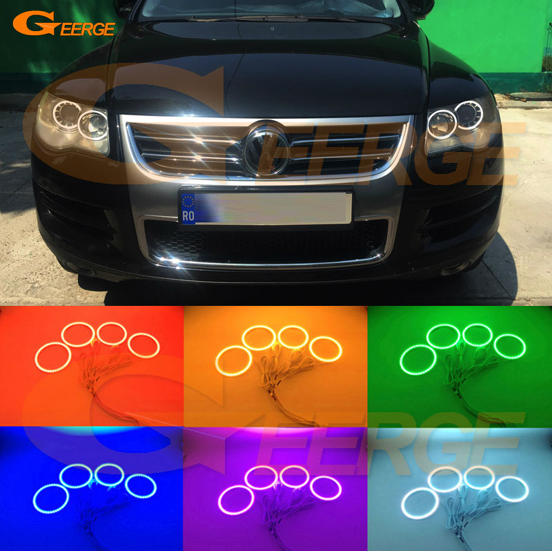 For VOLKSWAGEN VW TOUAREG 2008 2009 2010 halogen headlight Excellent Angel Eyes Multi-Color Ultra bright RGB LED Angel Eyes kit met повседневные брюки