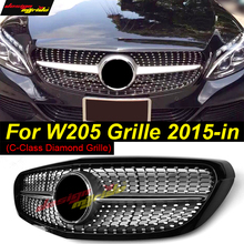 for Mercedes-Benz W205 Diamond Style Classic Model Use Front Racing GrilleC-Class C180 C200 C250 C300 C350 C400 Black 15-18