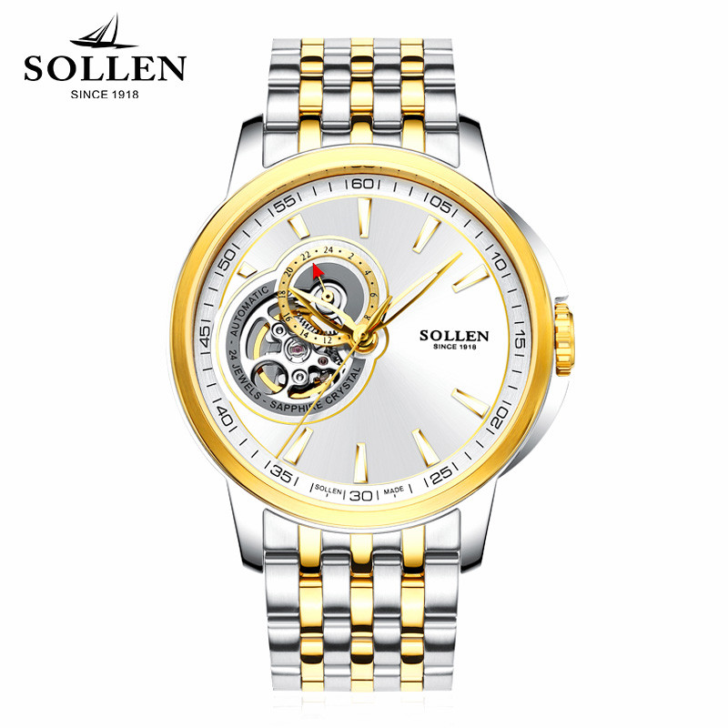 SOLLEN Hollow Watch Men Skeleton Luminous watch Automatic Mechanical Mens Watches Stainless Steel Waterproof Self-winding Clock tevise men watch black stainless steel automatic mechanical men s watch luminous waterproof watch rotate dial mens wristwatches