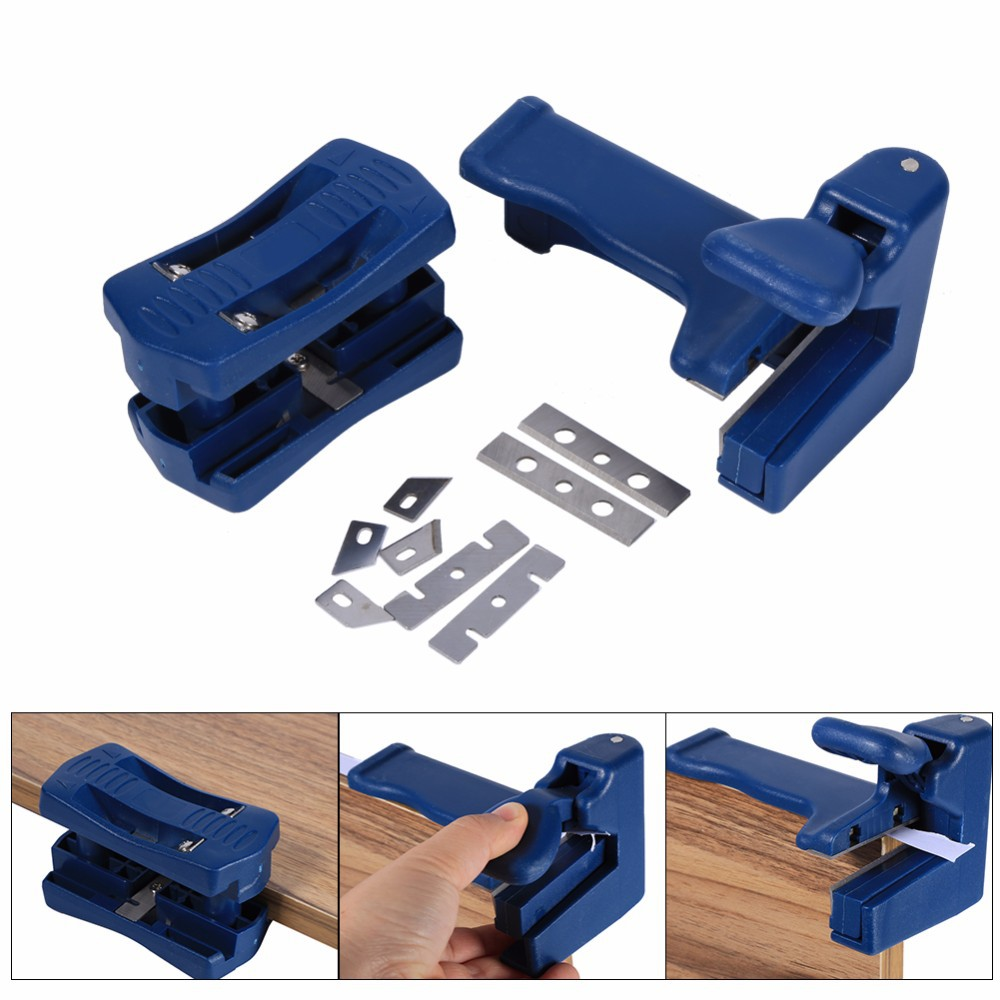 QST 2 Pcs//Set Manual Edge Banding Machine Trimming Device Block Device Wood Double Edge Head and Tail Trimmer For Carpenter PVC Binding Strip Hand Tools