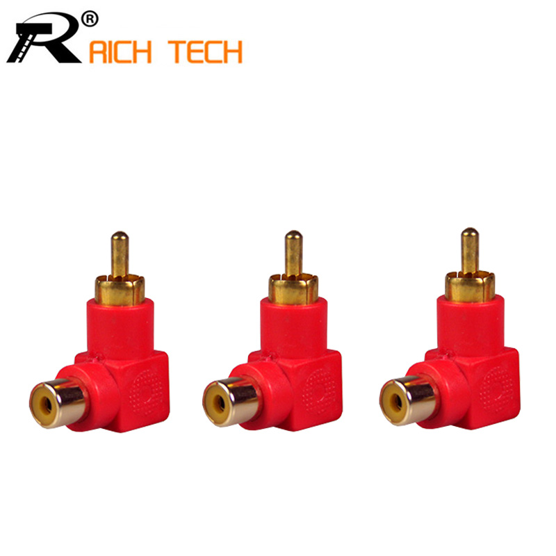 3pcs RICH TECH Industrial 90 Degree RCA Right Angle Connector Plug Adapters Male To Female M/F Elbow Adapter Audio aidocrystal newest biling floral crystal around women high heel pumps wedding shoes and bags
