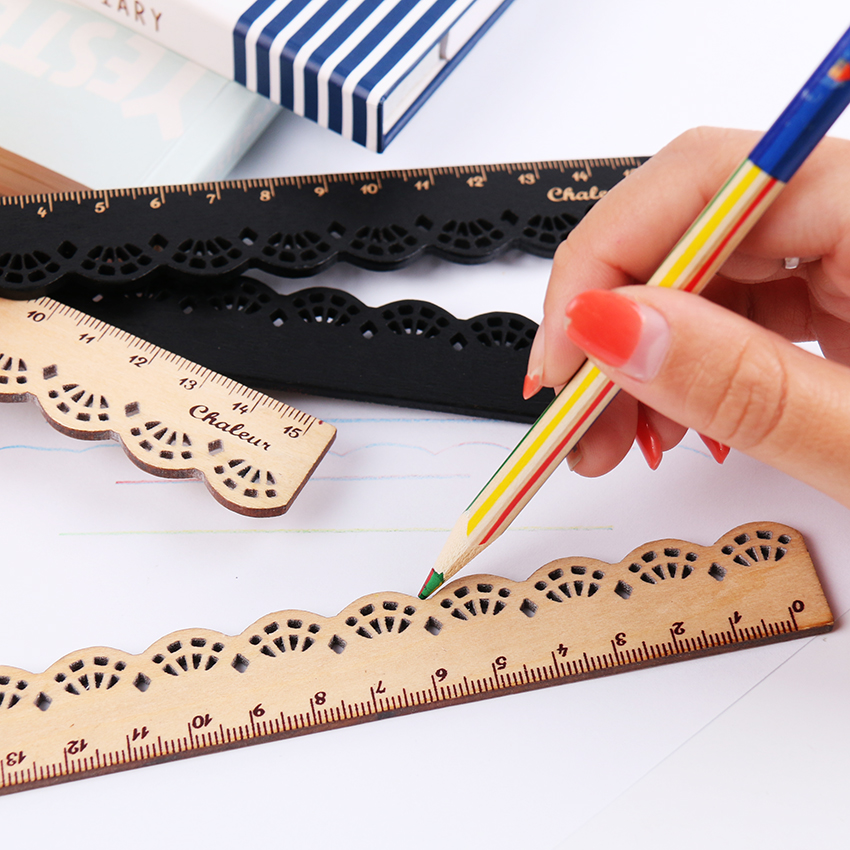 1PC Kawaii Cute Stationery Wood Straight Rulers Lace Sewing Ruler Stationery Office School Supplie Accessories