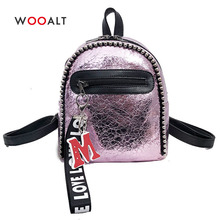 Wooalt Fashion Mini Backpack for Girls Women Leather Silver Pink Backpacks Travel Shoulder Bags Teenagers School Small