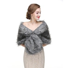 Warm Faux Fur Stoles Wedding Wrap Winter Wedding Bolero Jacket Bridal Coat Accessories Wedding Cape Coat blue flower girl faux fur cape child kid winter jacket hooded wrap bolero with hand muff evening prom coat outwear cloaks