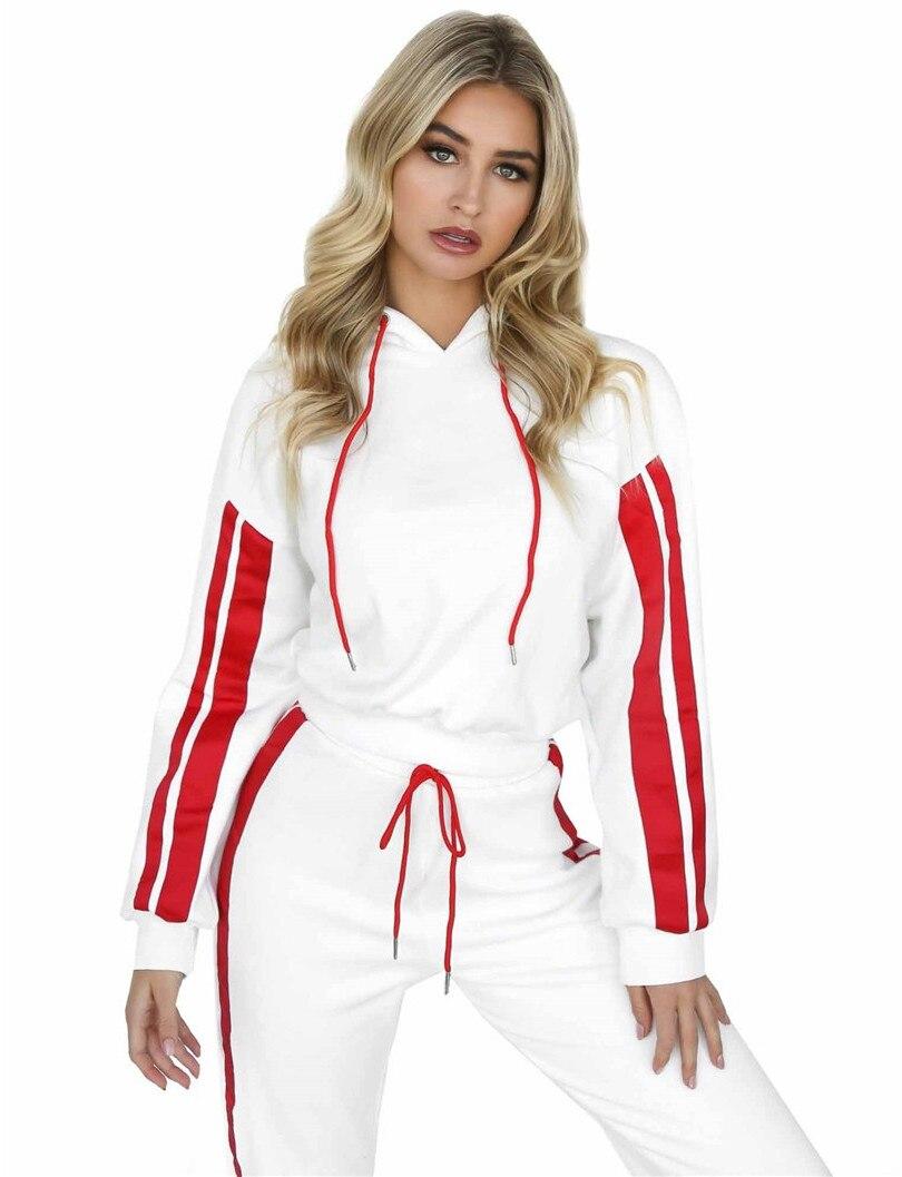 Ensemble À Pantalon Coton Occasionnel 2018 Costumes Rouge Complet Deux blanc Arrivée Rayures Nouvelle Femelle pièce Popeline Femmes Couture Top Capuche z6q87wt6
