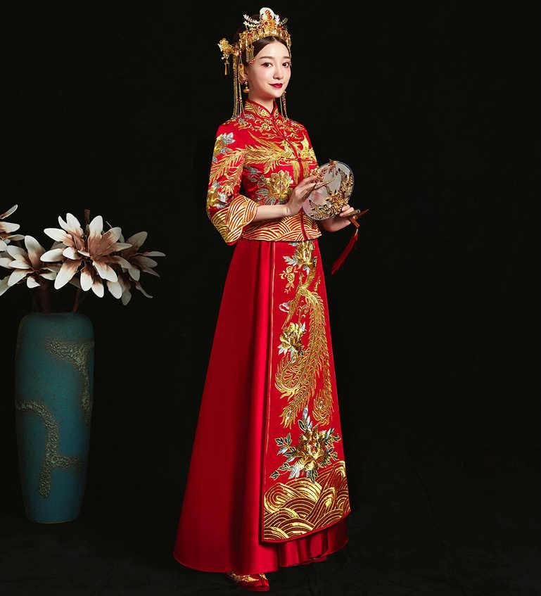 אדום מסורתי סיני סגנון הכלה חתונה cheongsam רקמת שמלת מסיבת שמלת ערב להתחתן Qipao Vestido בתוספת גודל S-5XL