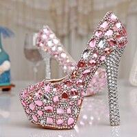 Великолепная Весна 4 Дюйм(ов) Обувь Одного Платья Розовый Кристалл Свадебное Платье Обувь Роскошные Дамы Платформа Партии Выпускного Вечер