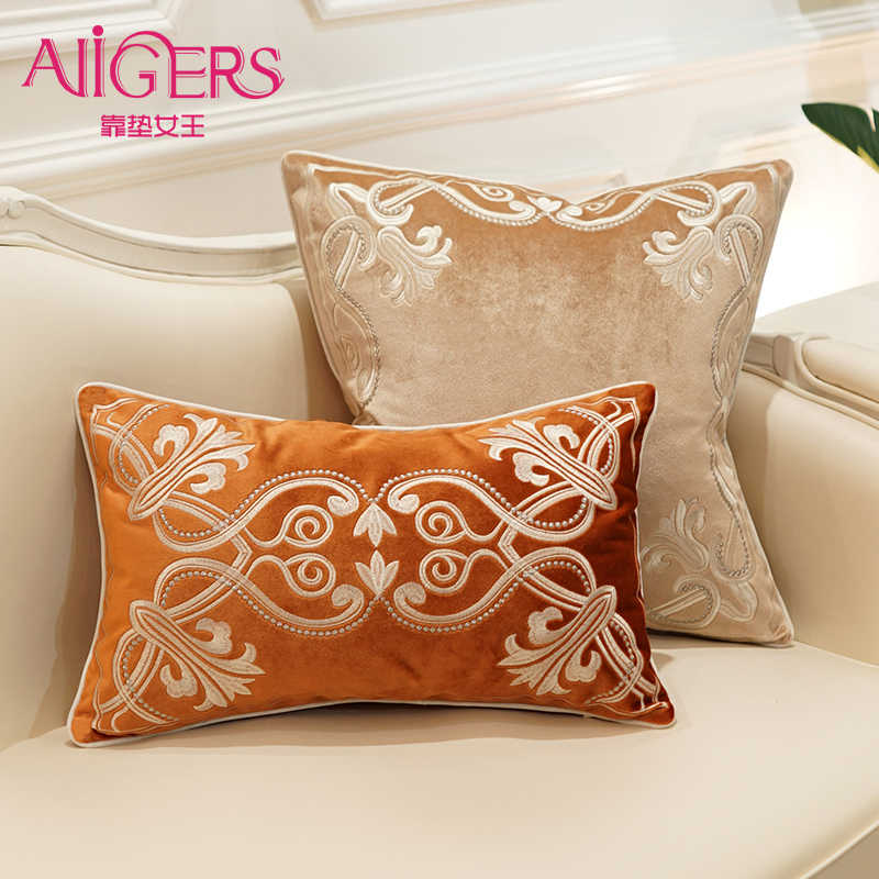 European-style decorative pattern Cushion Cover Flannelette embroidery of  Home Decorative Pillow Cover for Sofa Cojines