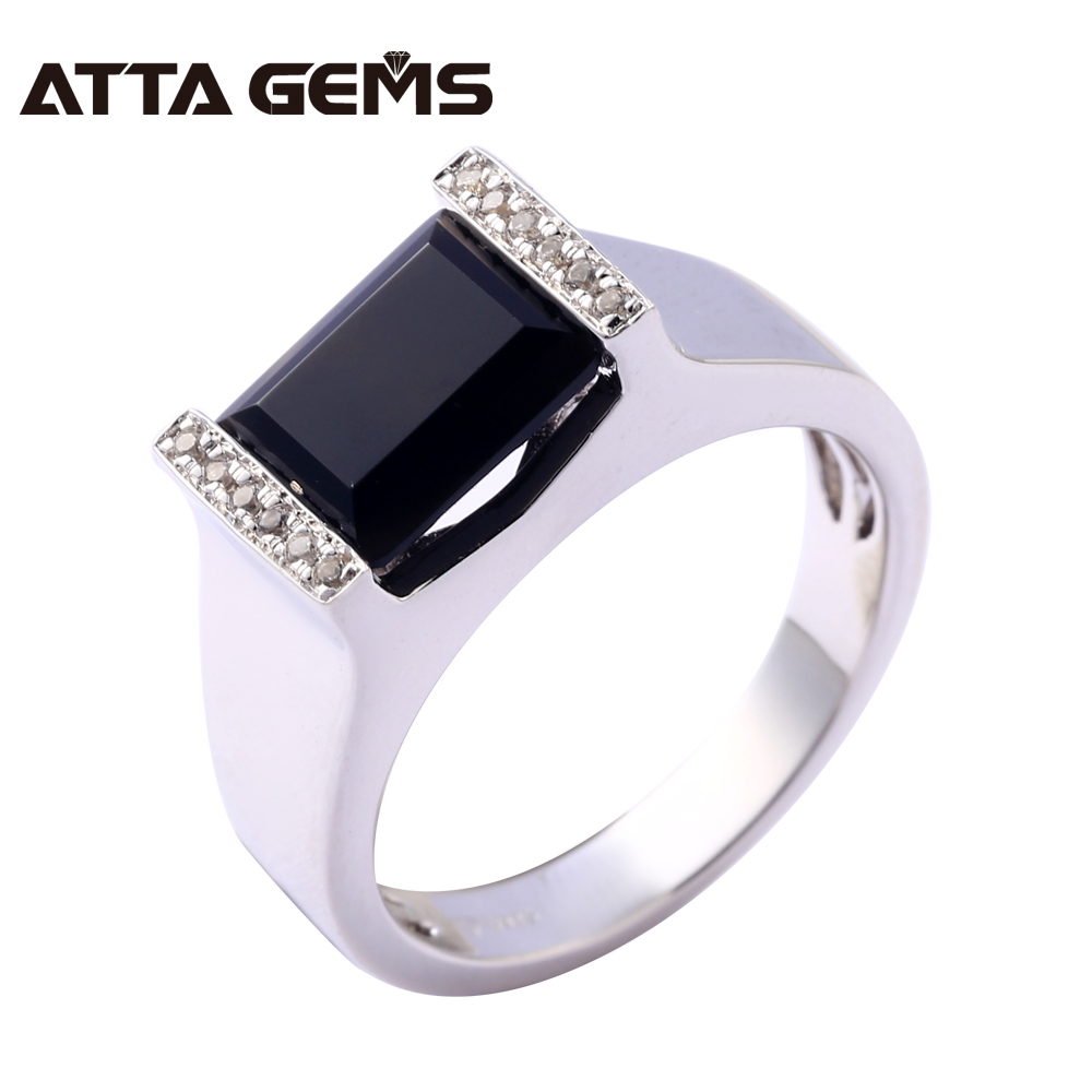 Natural Black Onyx Sterling Silver Rings for Men Classic Wedding Band Natural Stone Engagement and Birthday Gifts for Husband