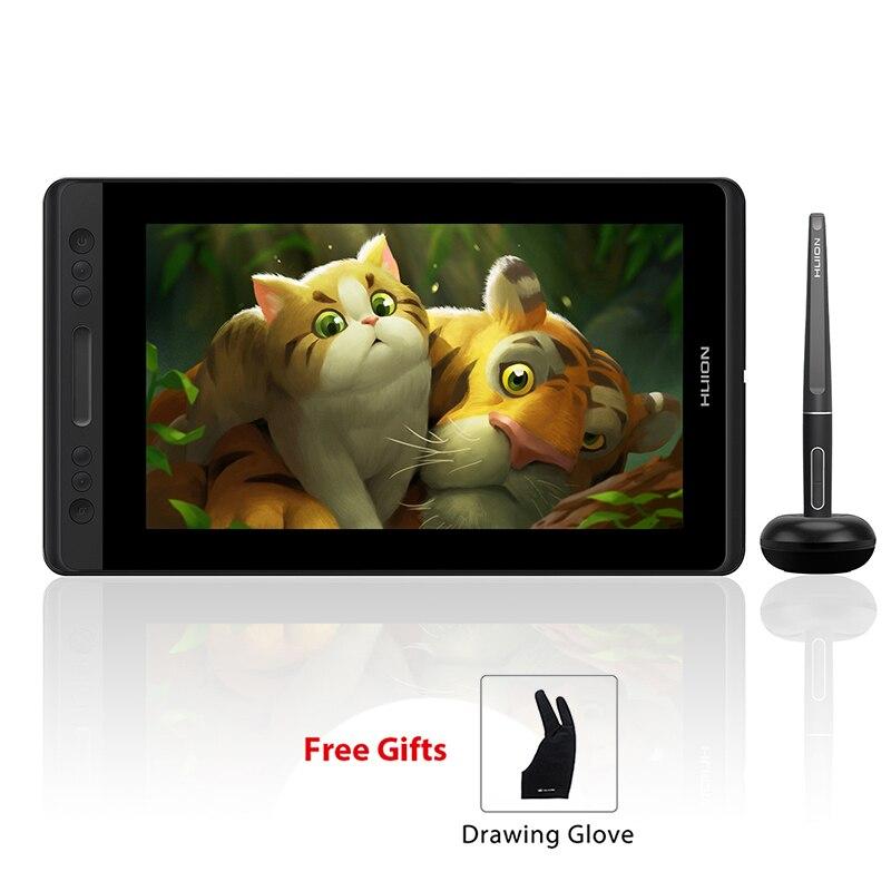 HUION Kamvas Pro 13 GT-133 soporte de inclinación lápiz sin batería dibujo gráfico Tablet Monitor de pantalla con teclas exprés y barra táctil