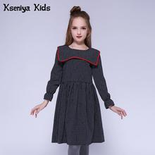 Kseniya Kids Children Girls Dresses Cotton Full Plaid Petal Sleeve Sailor Collar Fashion Girl Dress European And American Style