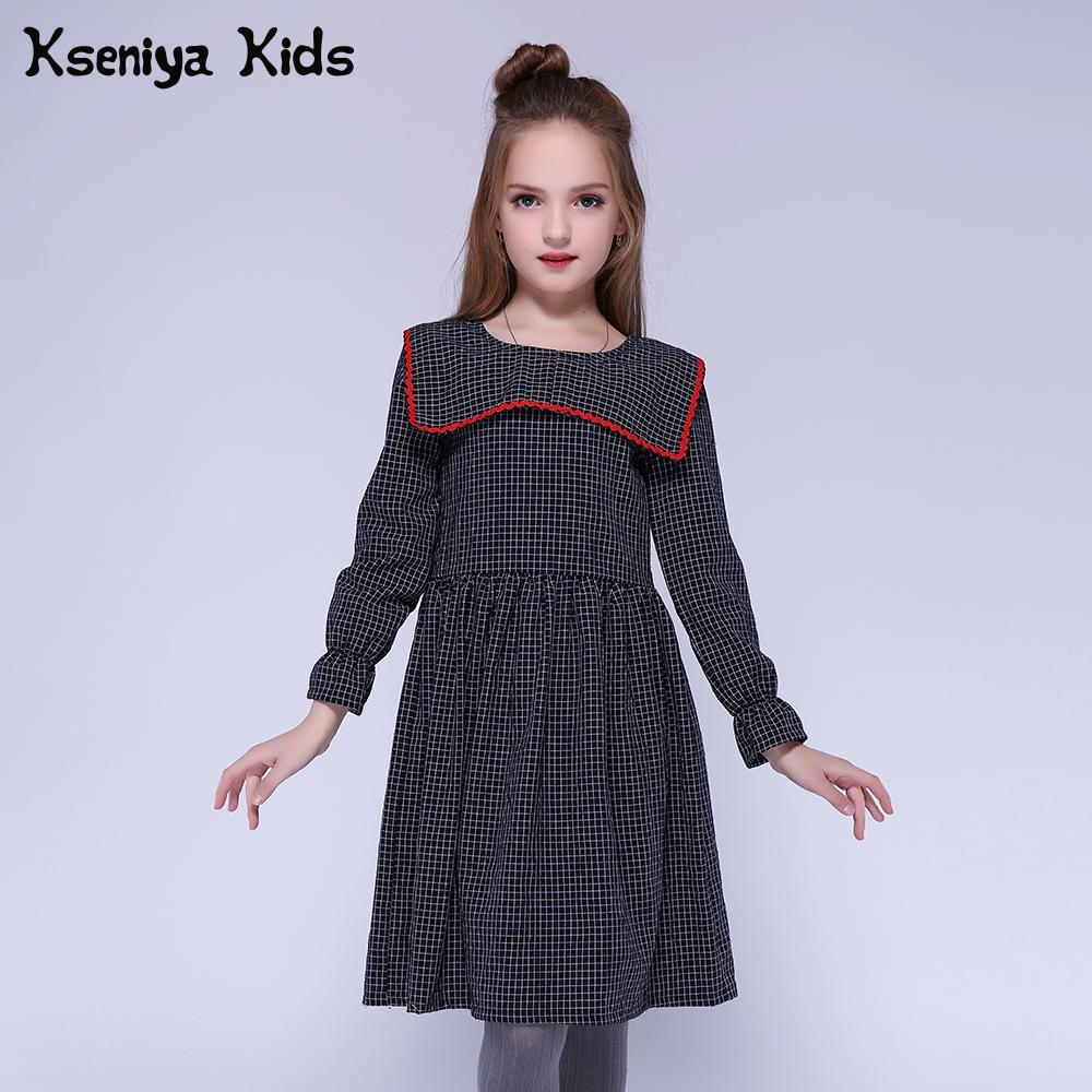 Kseniya/Детские платья для девочек; Хлопковое платье в клетку с рукавами лепестками; модное платье с матросским воротником для девочек в европейском и американском стиле