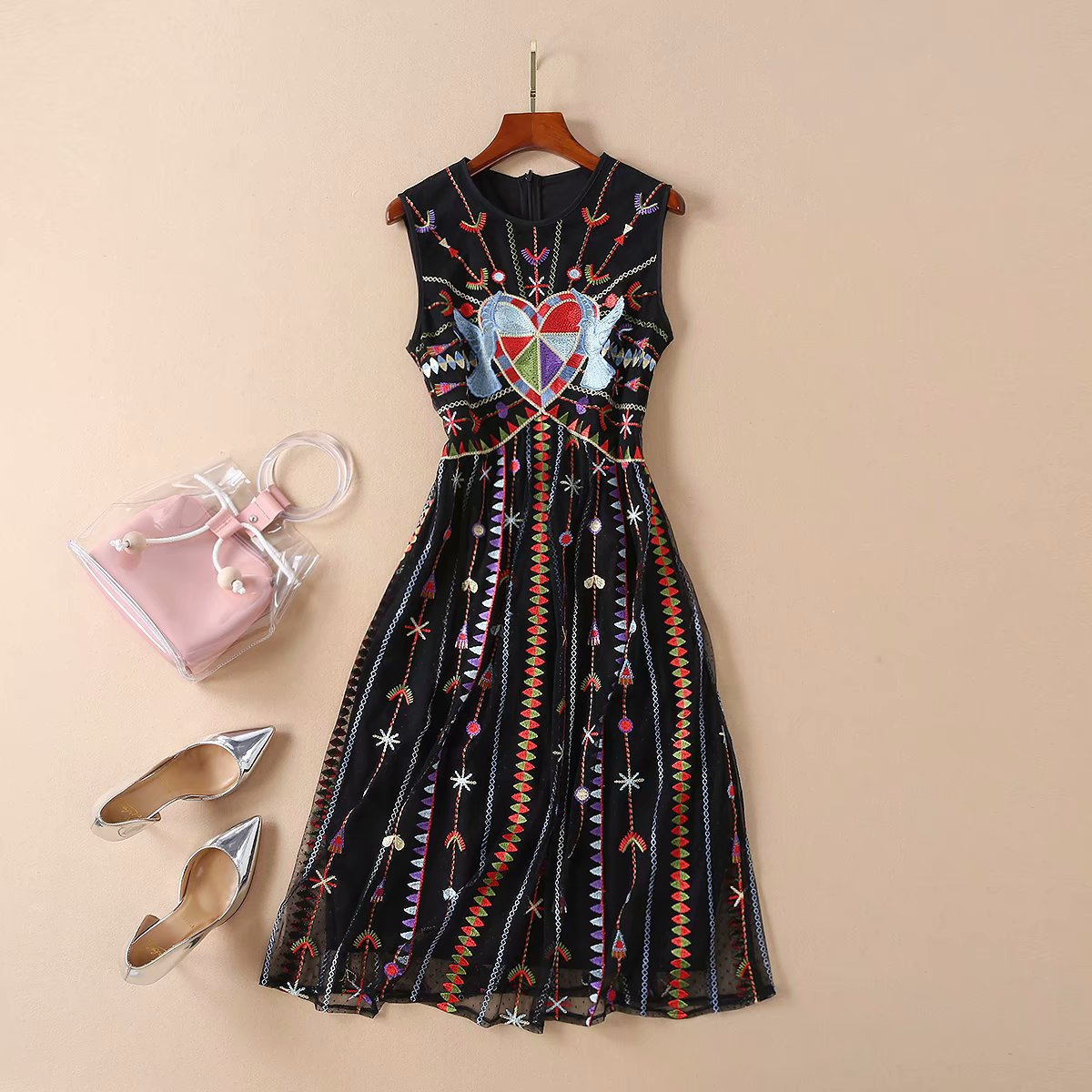 Women girls colorful heart embroidery black mesh dress sleeveless cute a-line heavy designer dresses new 2019 summer a-line