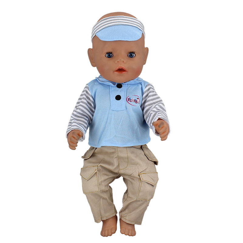 Blue Set Clothes+Hat Wear fit 43cm Baby Born zapf,Children best Birthday Gift(only sell clothes)