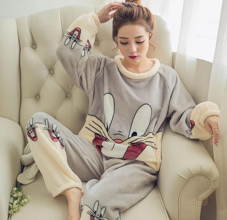 Women\'S Pajamas Autumn And Winter Pajamas Set Women Long Sleeve Sleepwear Flannel Warm Lovely Tops + Pants Sleep Pyjama Female 0