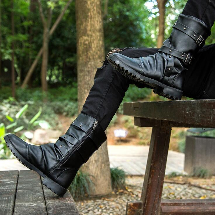 En 2 Chaussures Boucle Mode 1 Mi Blanc Picture Hommes Zip Botas Mâle Cuir mollet Hombre picture Moto Haute Noir D'hiver Top Bottes Sangle Pu agXzqgxrw