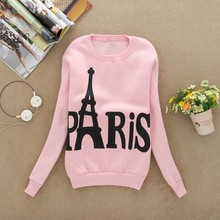 XUANSHOW Spring and Autumn Women s Long Sleeved Slim Sweatshirts Printed Paris Pullover Sweatshirts Clothing Sudaderas