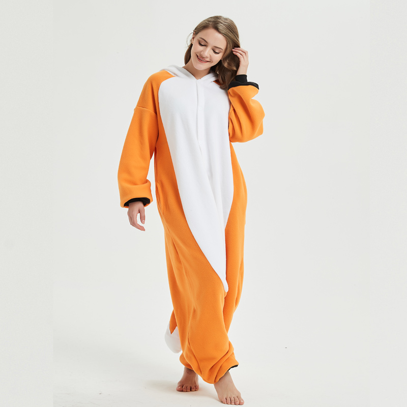 orange fox onesie for adult