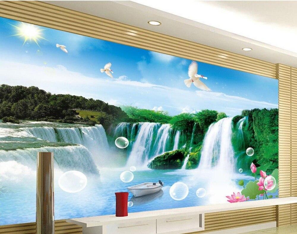 1154 58 De Descuentofondo De Tv Paisaje Agua Caídas 3d Habitación Papel Pintado Paisaje 3d Papel Pintado Estereoscópico Pintura Mural 3d In