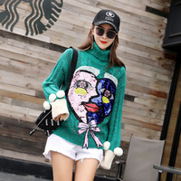 2018cartoon sequined turtleneck sweater female autumn and winter long paragraph Christmas green snowflake hit color love sweater