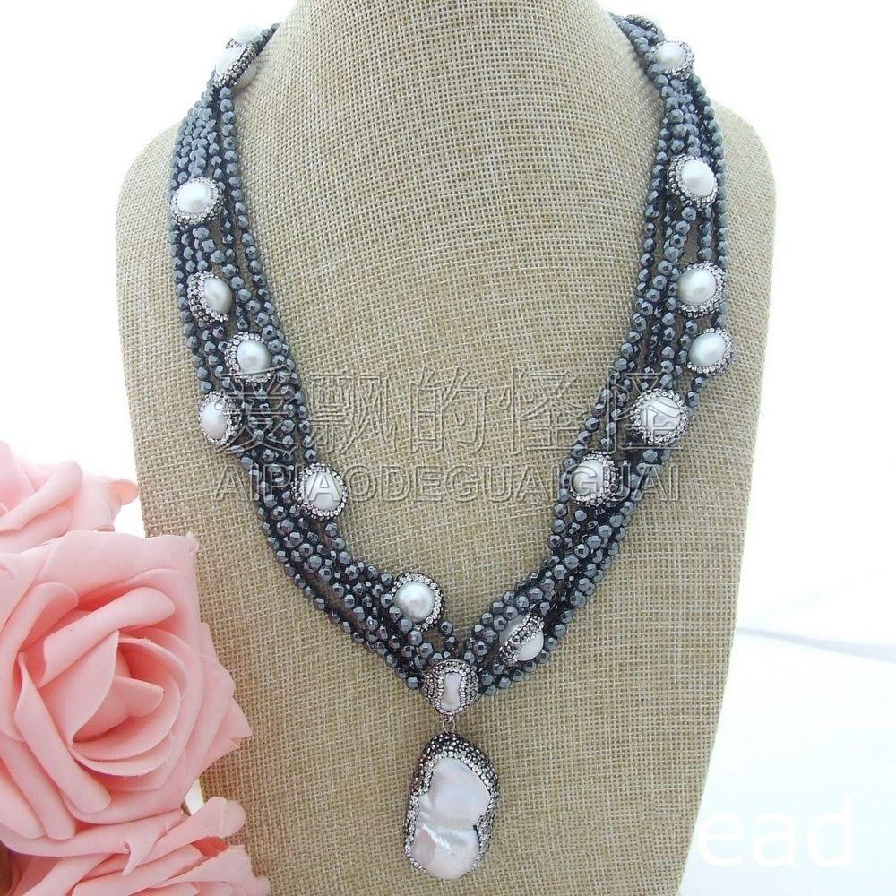 N070106 6Strands 21 Pearl Hematite Necklace Keshi PendantN070106 6Strands 21 Pearl Hematite Necklace Keshi Pendant