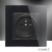 Free Shiping Luxury French Socket Black Crystal Glass Switch 2 Pin French Wall Plug Socket Tempered