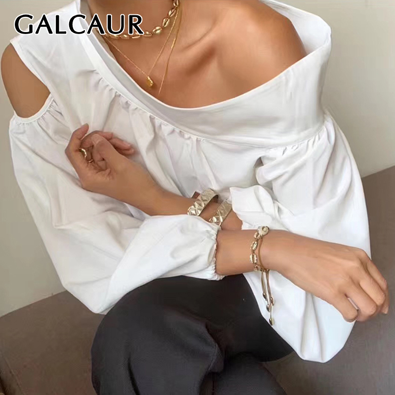 GALCAUR Sexy Irregular Shirt For Women Skew Collar Off Shoulder Lantern Sleeve Hollow Out Blouse Female 2019 Fashion Summer