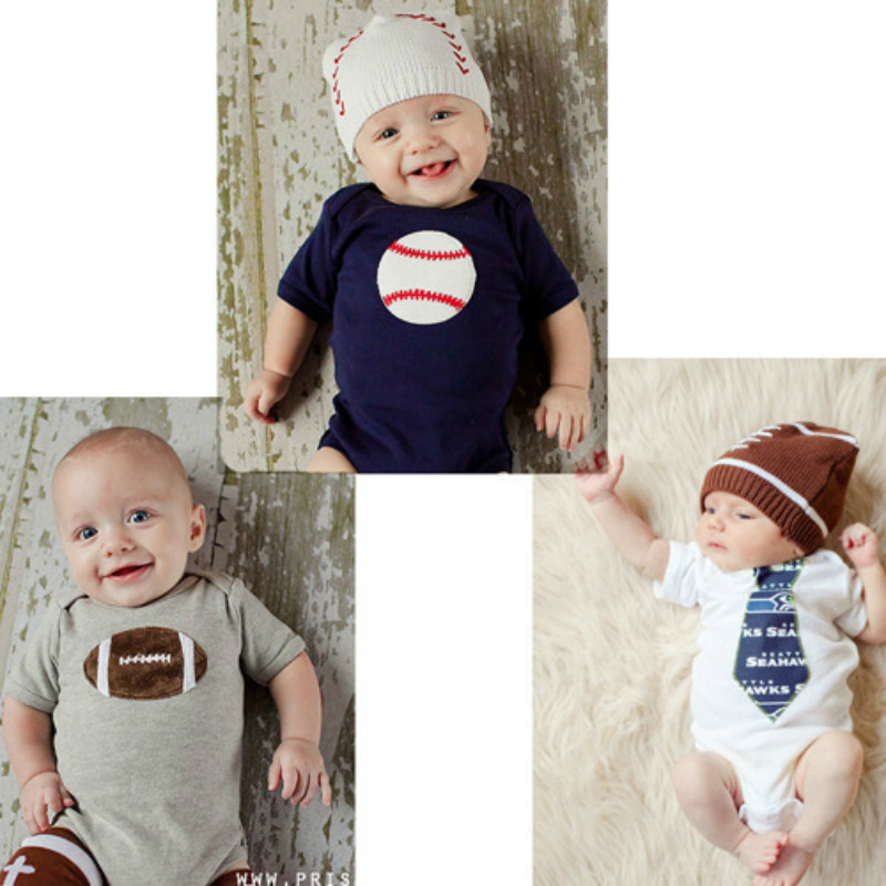 Newborn Baby Bodysuits Baby Boys Cotton Clothes Printing Baseball  Clothing Baby Sport Bodysuits  6-12 Months Kids One-pieces одежда на маленьких мальчиков